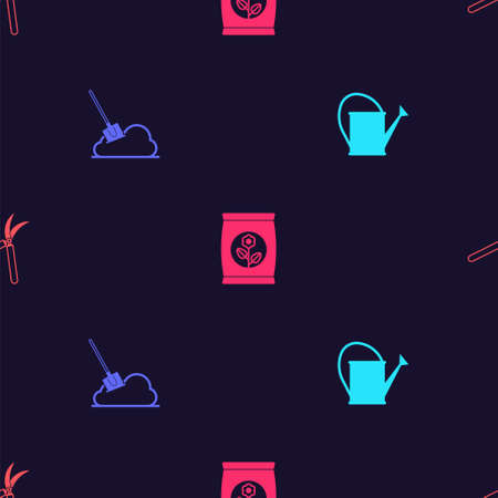 Set Watering can, Shovel the ground, Fertilizer bag and Gardening handmade scissor on seamless pattern. Vector 向量圖像