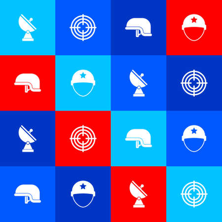 Set Radar, Target sport, Military helmet and icon. Vector
