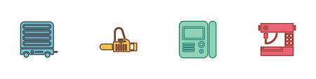 Set Electric heater, Chainsaw, House intercom system and Sewing machine icon. Vector 向量圖像
