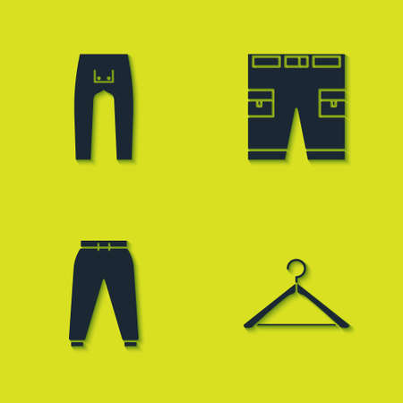 Set Pants, Hanger wardrobe, Sport pants and Short icon. Vector. Ilustracje wektorowe