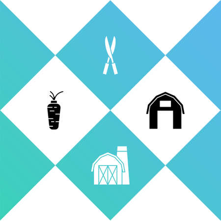 Set Carrot, Farm house, Gardening handmade scissors and icon. Vector