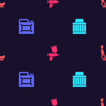 Set Car air filter, Canister for motor oil, Paint spray gun and seat on seamless pattern. Vector.