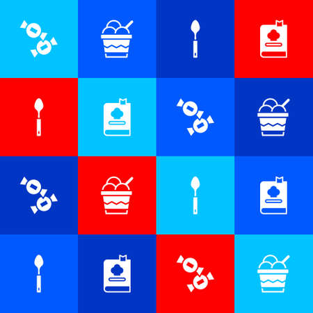 Set Candy, Ice cream in bowl, Spoon and Cookbook icon. Vector