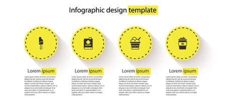 Set Ice cream, Cookbook, in bowl and Coffee cup to go. Business infographic template. Vector Vetores