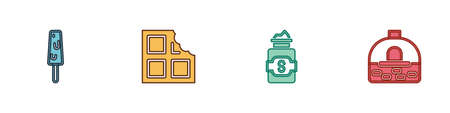 Set Ice cream, Chocolate bar, Jar of sugar and Brick stove icon. Vector