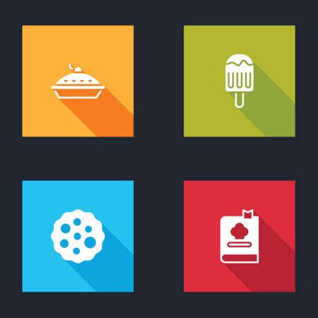 Set Homemade pie, Ice cream, Cookie or biscuit and Cookbook icon. Vector Ilustração