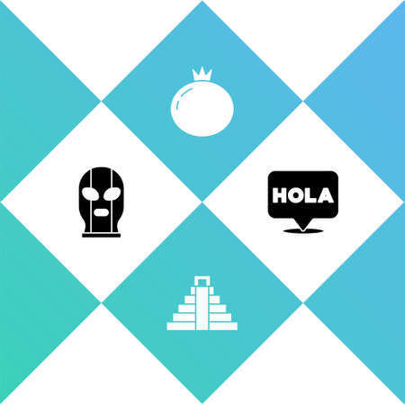 Set Mexican wrestler, Chichen Itza in Mayan, Tomato and Hola icon. Vector.