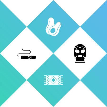 Set Cigar, Mexican carpet, Avocado fruit and wrestler icon. Vector Illustration