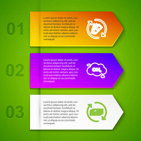 Set line Refund money, Methane emissions reduction, and Bomb ready to explode. Business infographic template. Vector