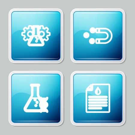 Set line Bioengineering, Customer attracting, DNA research, search and Clipboard with blood test icon. Vector