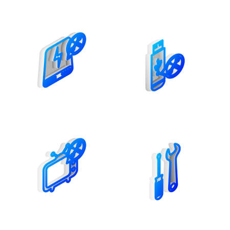 Set Isometric line USB flash drive service, Power bank, Tv and Screwdriver and wrench icon. Vector
