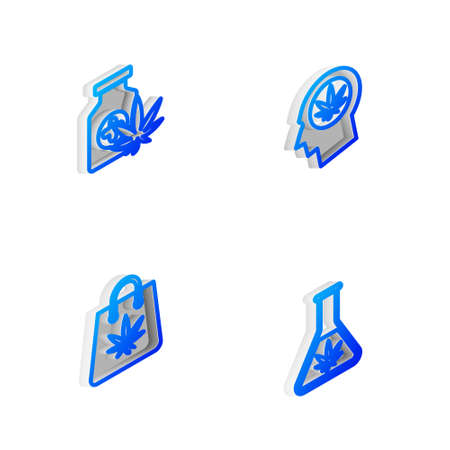 Set Isometric line Head in profile with marijuana, Medical bottle, Shopping bag and Test tube icon. Vector