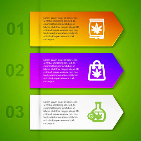 Set line Marijuana or cannabis seeds, Shopping bag of marijuana, Test tube with and Medical pills. Business infographic template. Vector 向量圖像