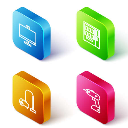 Set Isometric line Computer monitor, Vending machine, Vacuum cleaner and Electric cordless screwdriver icon. Vector