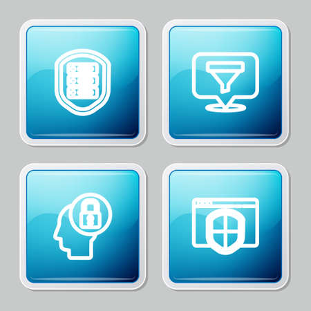 Set line Server with shield, Location sales funnel, Human head lock and Browser icon. Vector