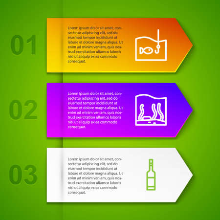 Set line Fishing hook with fish, Aquarium, Bottle of vodka and No fishing. Business infographic template. Vector