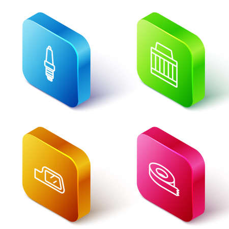 Set Isometric line Car spark plug, air filter, mirror and Scotch tape icon. Vector Vector Illustration