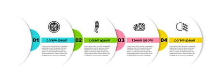 Set line Car wheel, muffler, headlight and High beam. Business infographic template. Vector