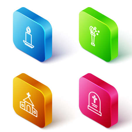 Set Isometric line Burning candle, Aspergillum, Church building and Tombstone with cross icon. Vector