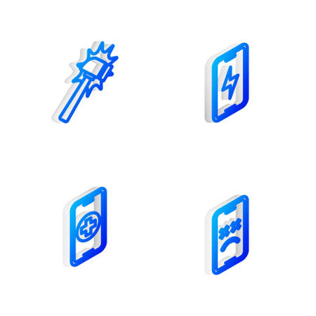 Set Isometric line Mobile charging battery, Hammer, Phone repair service and Dead mobile icon. Vector
