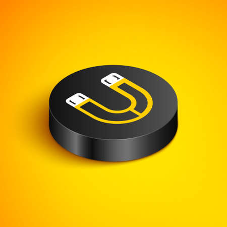 Isometric line Magnet icon isolated on yellow background. Horseshoe magnet, magnetism, magnetize, attraction sign. Black circle button. Vector
