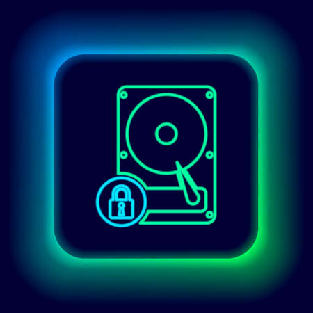 Glowing neon line Hard disk drive and lock icon isolated on black background. HHD and padlock. Security, safety, protection concept. Colorful outline concept. Vector