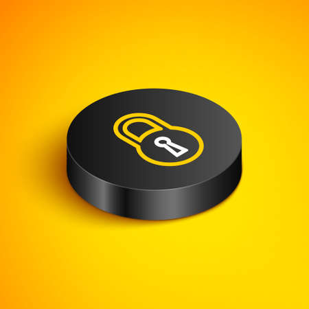 Isometric line Lock icon isolated on yellow background. Padlock sign. Security, safety, protection, privacy concept. Black circle button. Vector