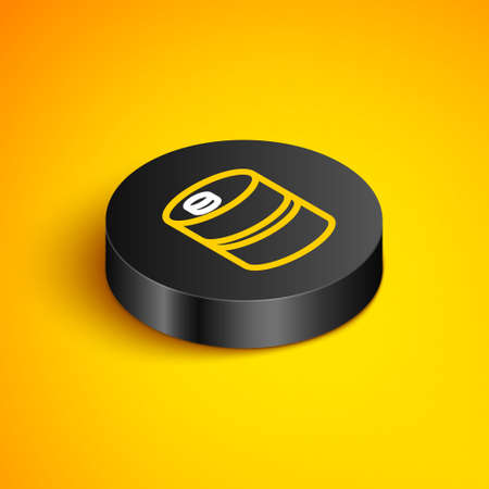 Isometric line Metal beer keg icon isolated on yellow background. Black circle button. Vector