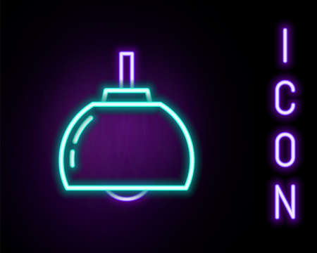 Glowing neon line Chandelier icon isolated on black background. Colorful outline concept. Vector