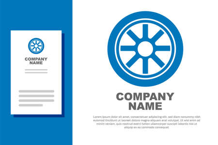 Blue Car wheel icon isolated on white background. Logo design template element. Vector