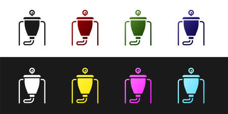 Set Beer brewing process icon isolated on black and white background. Vector