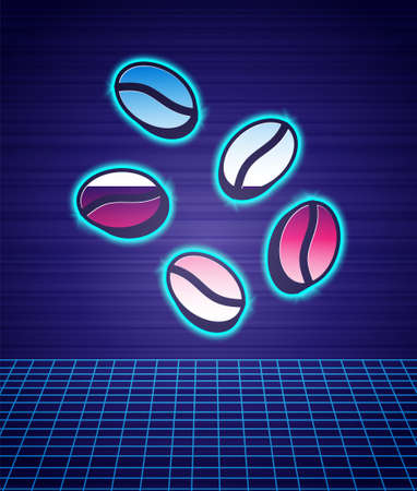 Retro style Coffee beans icon isolated futuristic landscape background. 80s fashion party. Vector