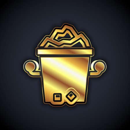 Gold Ice bucket icon isolated on black background. Vector Stock Illustratie