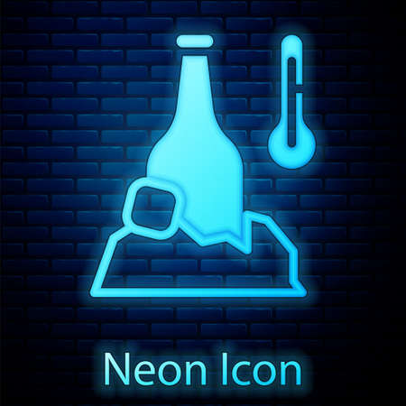 Glowing neon Cold beer bottle icon isolated on brick wall background. Vector