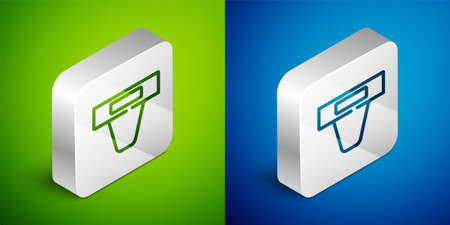 Isometric line Groin guard for martial arts icon isolated on green and blue background. Silver square button. Vector