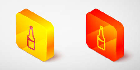 Isometric line Plastic beer bottle icon isolated on grey background. Yellow and orange square button. Vector