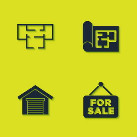 Set House plan, Hanging sign with For Sale, Garage and icon. Vector Vettoriali