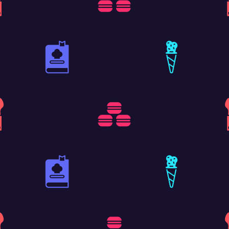 Set Ice cream in waffle cone, Cookbook, Macaron cookie and Spoon on seamless pattern. Vector Ilustração