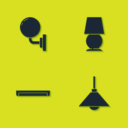 Set Wall lamp or sconce, Lamp hanging, Fluorescent and Table icon. Vector 向量圖像
