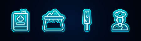 Set line Cookbook, Bag of flour, Ice cream and . Glowing neon icon. Vector Vetores