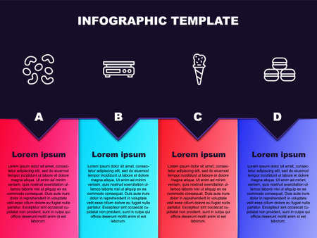 Set line Jelly candy, Electronic scales, Ice cream in waffle cone and Macaron cookie. Business infographic template. Vector