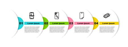 Set line Phone repair service, Mobile with broken screen, Glass protector and . Business infographic template. Vector Vektoros illusztráció