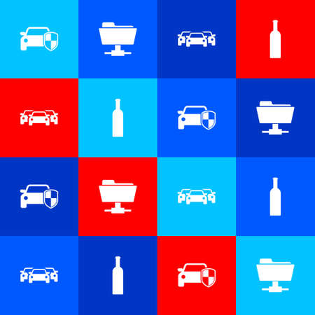Set Car protection or insurance, FTP folder, Cars and Bottle of wine icon. Vector