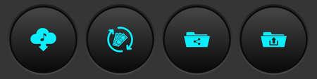 Set Cloud download music, Refund money, Share folder and Folder upload icon. Vector