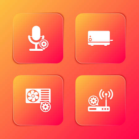 Set Microphone setting, Toaster, Air conditioner and Router and wifi icon. Vector