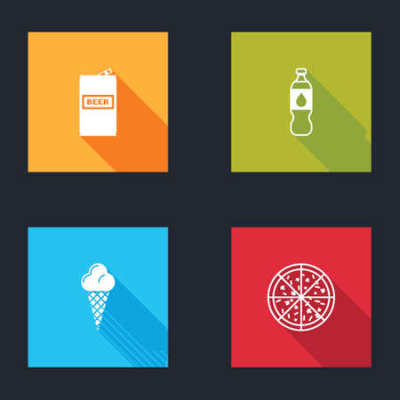 Set Beer can, Bottle of water, Ice cream in waffle cone and Pizza icon. Vector Vektoros illusztráció
