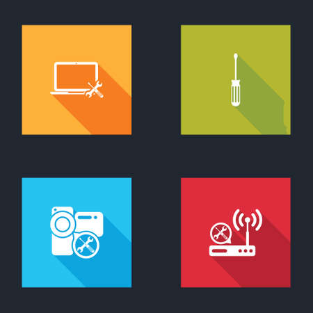 Set Laptop service, Screwdriver, Video camera and Router wifi icon. Vector Vektoros illusztráció
