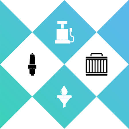 Set Car spark plug, Funnel and oil drop, air pump and radiator cooling system icon. Vector