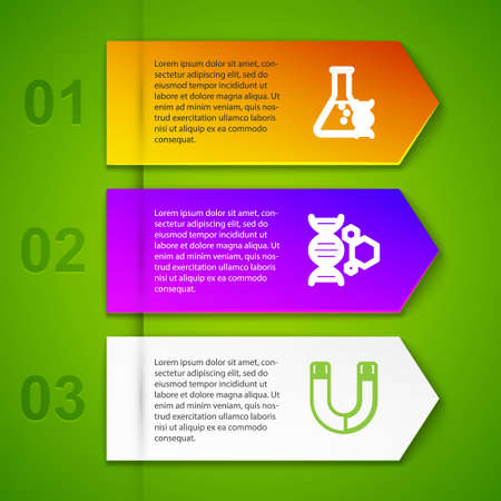 Set line DNA research, search, Genetic engineering, Magnet and Medicine pill or tablet. Business infographic template. Vector