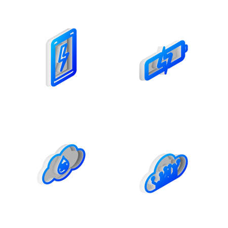 Set Isometric line Battery, Mobile charging battery, Humidity and Internet of things icon. Vector